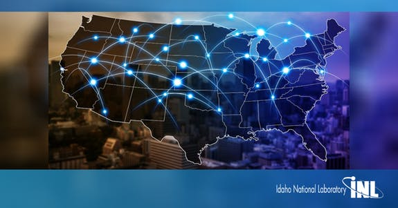 abstract image of map of the united states of america with glowing blue dots and arcs
