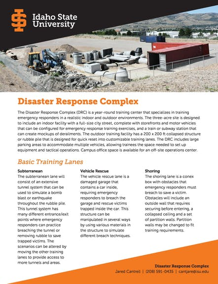 Disaster Response Complex  Sept