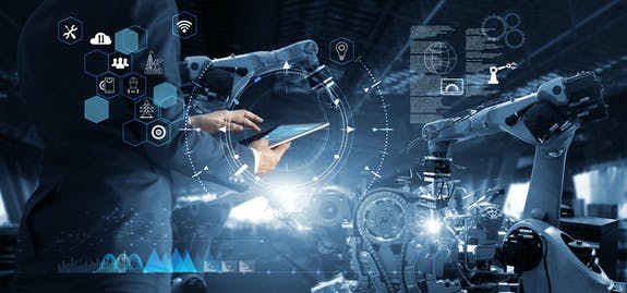 Manager Technical Industrial Engineer working and control robotics with monitoring system software and icon industry network connection on tablet. AI, Artificial Intelligence, Automation robot arm